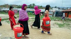 Rohingya women at a refugee camp