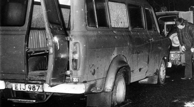 The bullet-riddled minibus near Whitecross in South Armagh where 10 Protestant workmen were shot dead (PA)
