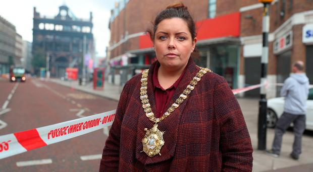 Lord Mayor Deirdre Hargey at the scene