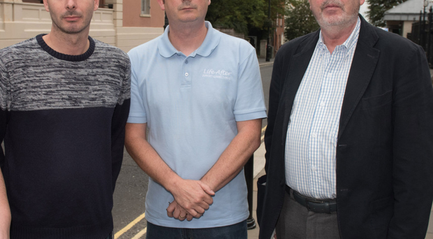 From left: Ryan and Christopher Sherrard, sons of Wilson Sherrard, with Billy Rosborough, Wilson's brother-in-law, at Londonderry Court where Richard Frazer was sentenced after the death of his friend in a car accident