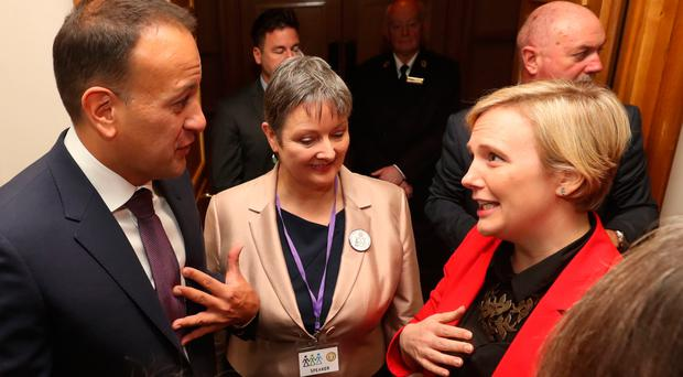 Taoiseach Leo Varadkar speaks to MP Stella Creasy (right) at the International Congress of Parliamentary Women's Caucuses in Dublin