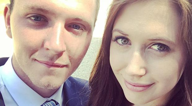 Hit-and-run victim Matthew Bradley with girlfriend Rhiannon Williams