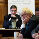 Jacob Rees-Mogg, Boris Johnson and Iain Duncan Smith at the Economists for Free Trade event yesterday