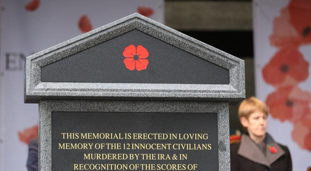 The unveiling last year of the memorial for victims of the Enniskillen bomb