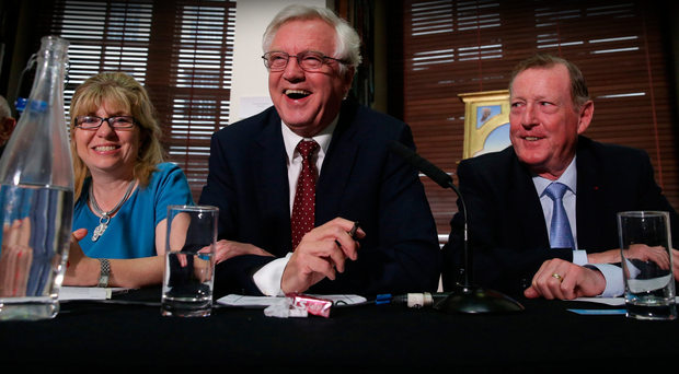 Former Brexit Minister David Davis (centre) with former UUP leader David Trimble during a meeting of the pro-Brexit European Research Group