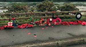 Desecrated wreaths at the memorial