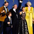 Nikolaj Coster-Waldau , Peter Dinklage, Conleth Hill, Emilia Clarke and Gwendoline Christie from Game of Thrones which was the Outstanding Drama Series winner at the 70th Emmy Awards at the Microsoft Theater in Los Angeles, California