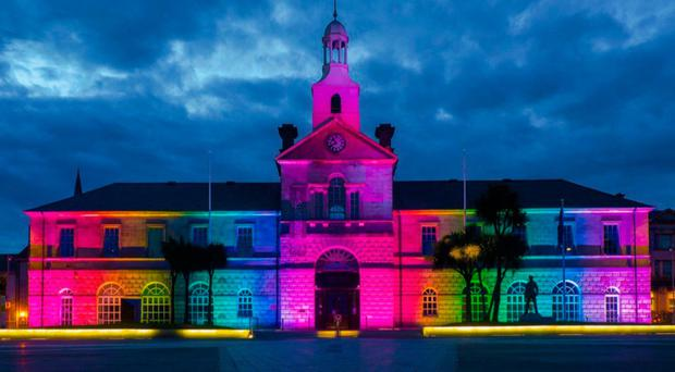 Ards Town Hall lit up in rainbow colours in tribute to those killed in the Orlando nightclub shooting in June 2016