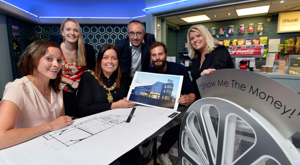 Strand CEO Mimi Turtle, Councillor Sharon Skillen, Lord Mayor Deirdre Hargey, Councillor George Dorrian, Jamie Dornan and Gilly Campbell from Arts Council NI