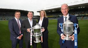 Andrew Johnston of NIFL, Patrick Nelson of IFA, and Jane Tohill and Stephen Watson of BBC Sport NI announcing the new television deal