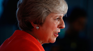 Theresa May speaks to the media at the conclusion of the summit of leaders of the European Union in Salzburg, Austria