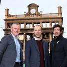 Architects have called for a pubic debate on the future of Belfast city centre following the Primark fire. L-R, Ciaran McConnell, managing director, JP Corry. Ciarán Fox, director, Royal Society of Ulster Architects. James Grieve, Chair RSUA Early Career Architects Forum. RSUA/Handout/PA wire.