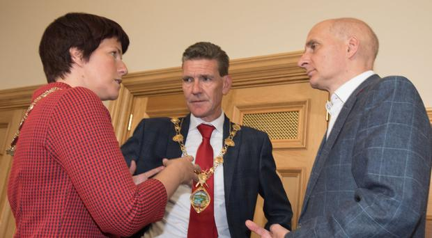 Labour peer Lord Adonis with Derry City and Strabane mayor John Boyle and local Chamber of Commerce president Jennifer McKeever in the Guildhall yesterday