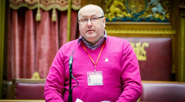 Noel Downey speaking at a European Day for Victims of Terrorism event at Stormont
