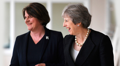 Prime Minister Theresa May with DUP leader Arlene Foster during Mrs May's visit to Co Fermanagh in July