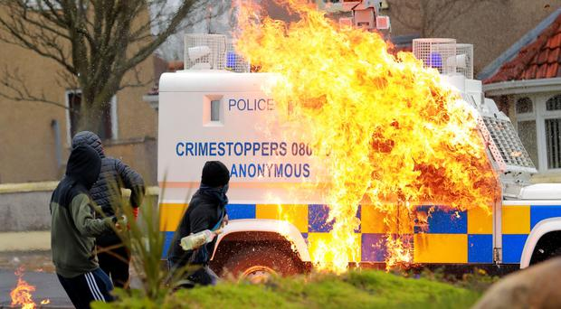 An attack on a police vehicle in the Creggan area of Derry last April