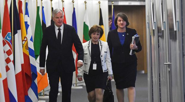 EU Brexit negotiator Michel Barnier with the DUP's Diane Dodds and Arlene Foster