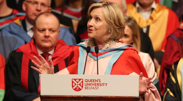 Hillary Clinton makes an address during a ceremony at Queen's University