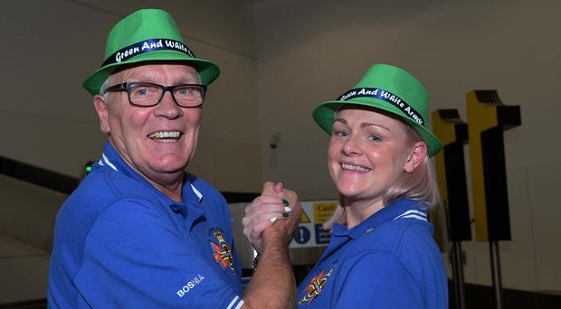 Northern Ireland fans Judith White and her father Brian