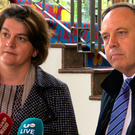 DUP's Arlene Foster and Nigel Dodds speak to the Press in Portadown on Friday.