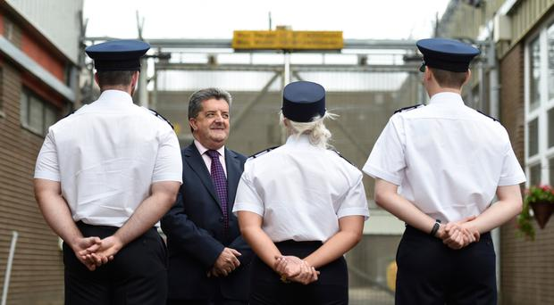 Head of the Northern Ireland Prison Service, Ronnie Armour talking to recruits at Maghaberry
