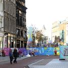 A deserted Belfast city centre yesterday close to the site of the Primark fire