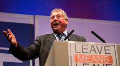 Sammy Wilson at a rally in Bournemouth last night