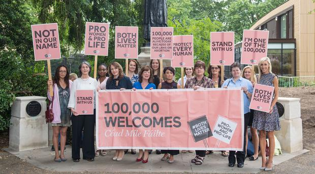 Northern Irish women in London protesting against possible imposition of changes to abortion laws from Westminster (Dominic Lipinski/PA)