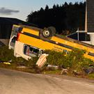 The overturned bus after the crash near Augher