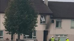 The scene of the arson attack on the house in Magherafelt