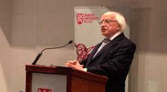 Michael D Higgins gives his lecture at Queen's in May