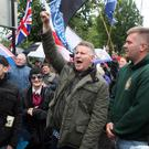 Paul Golding (centre) at a protest at Belfast City Hall last year