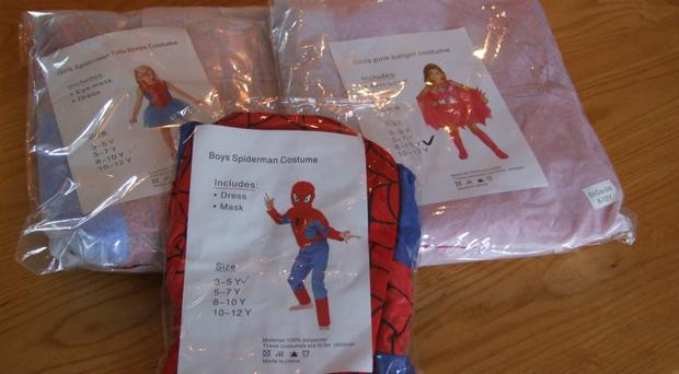 Some of the counterfeit children's costumes which were intercepted by police