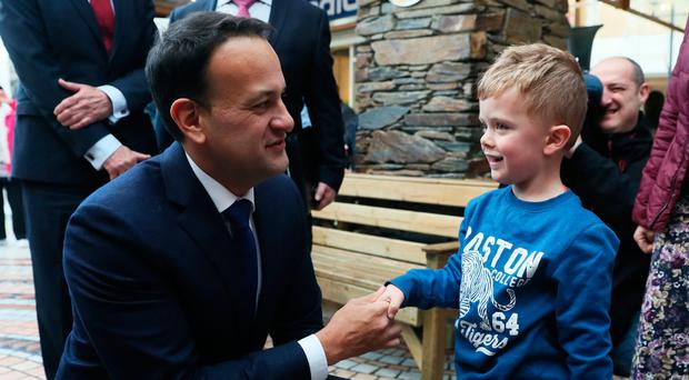 Mr Varadkar is greeted by five-year-old Jude Sheppard