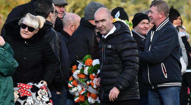 Sean Kelly at a commemoration for fellow bomber Thomas Begley at Milltown Cemetery