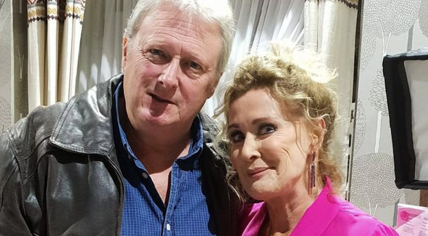 Charlie Lawson and screen wife Beverley Callard on the set of Coronation Street