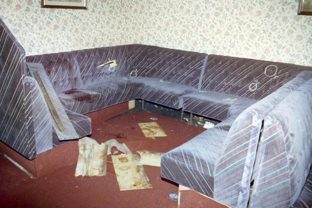 Outrage: the interior of the Rising Sun bar after the massacre