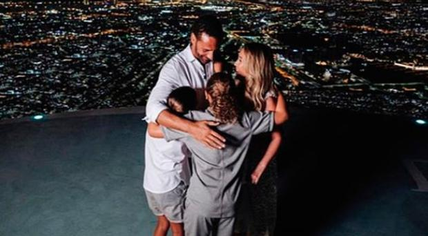 Rio Ferdinand's children hug the couple after he proposed