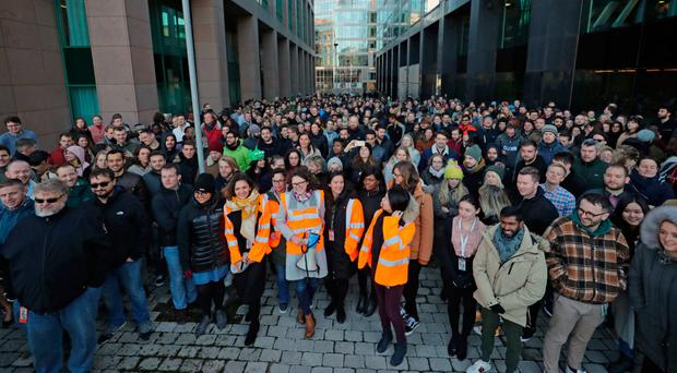 Google employees at its European HQ in Dublin join others from around the world in walking out of their offices