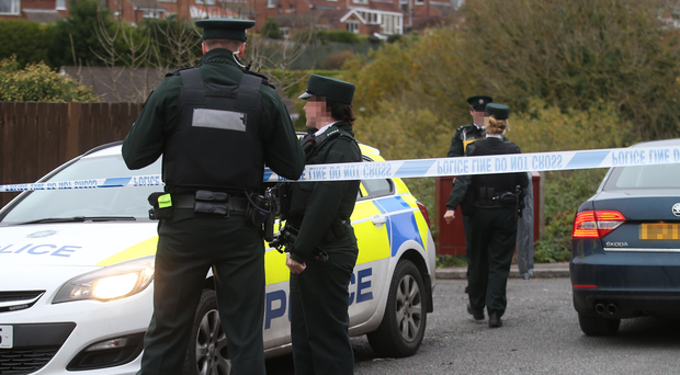 Police at the scene near Burnside Park, in the Four Winds area of Belfast, after the body of a young woman was found in woodland