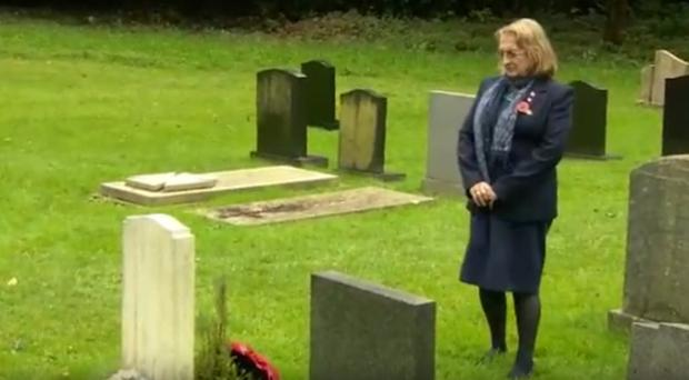Jean O'Connor at the grave of her son