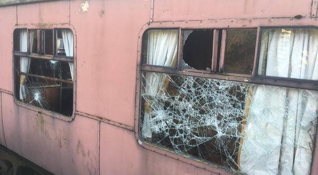 The vandalised carriages