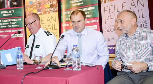 Chief Constable George Hamilton with loyalist Winston Irvine and Sean Murray at Feile an Phobail earlier this year