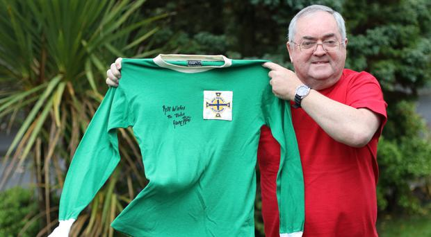 John Doherty with the shirt Best wore for Northern Ireland
