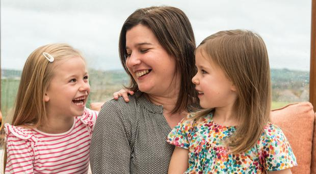 Catherine Doran with Charlotte (7) and Lucy (5)
