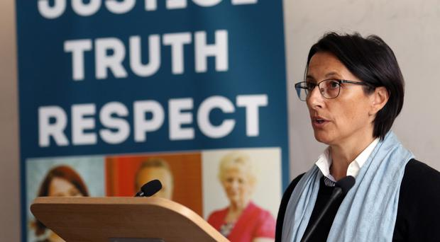 Anne Gourves speaks at the victims conference at Queen's University
