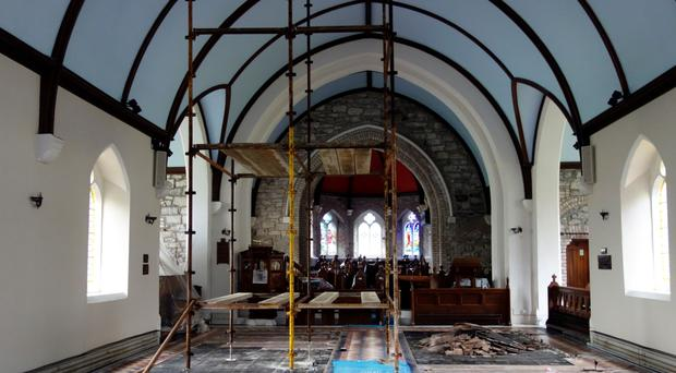 The Priory Church at Killadeas, Co Fermanagh, during renovation
