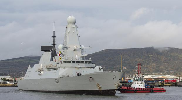 HMS Duncan arrives in Belfast on Friday morning for Armistice Day. (Crown Forces/PA)