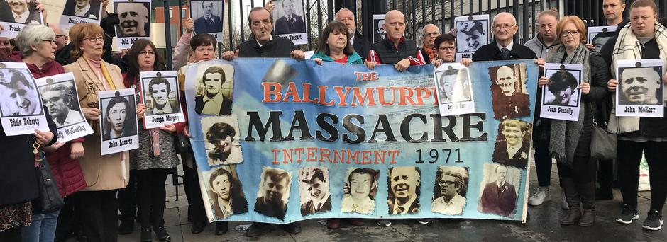 The families of the 10 people who were killed in gunfire during three days of shootings in west Belfast in 1971 (Cate McCurry/PA)