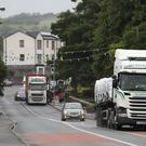 Trucks on the border between Belcoo in Northern Ireland and Blacklion in the Republic of Ireland (Niall Carson/PA).